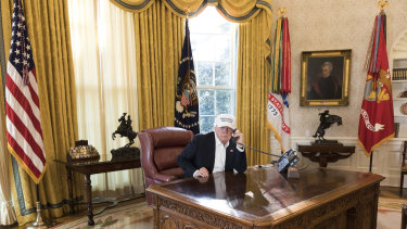 Donald Trump enjoys welcoming private guests to the Oval Office and relishes showing them the Lincolm Bedroom.