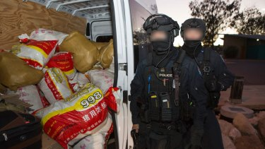 The record 1.2 tonnes of methamphetamine seized at Geraldton. Eight men were charged.