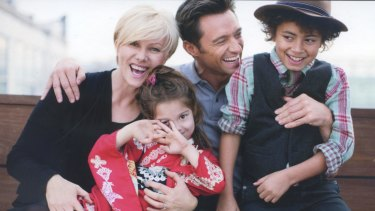 Hugh Jackman and Debra-Lee Furness with their two children, Oscar and Ava.