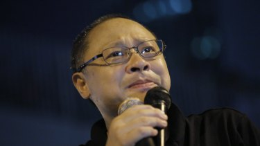 Benny Tai at a pro-democracy rally in 2014.