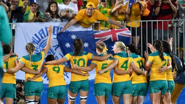 Australia's women's rugby sevens team celebrates gold in Rio.