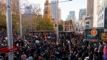 Demonstrators at a Black Lives Matter rally in Sydney last weekend.