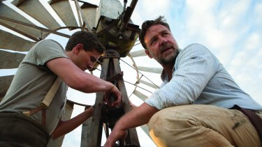 Ryan Corr (left) as Art and Russell Crowe as Joshua Connor in The Water Diviner, which Crowe directed.