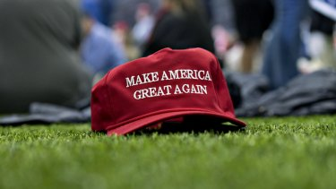 Trump's motto on a hat at one of his rallies in 2018.