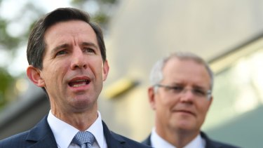 Trade Minister Simon Birmingham and Prime Minister Scott Morrison.