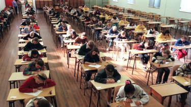 Students sit the selective high school test in NSW.