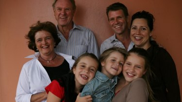 Mike Baird, the then new Liberal member for Manly, with parents Bruce and Judy, and his young family in 2007.
