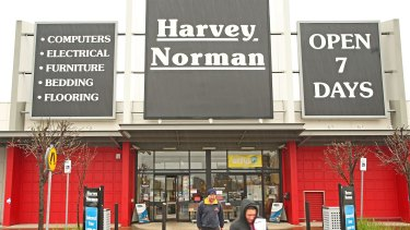 Harvey Norman has seen a run up in sales due to Australians buying up home office goods and freezers.