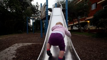 Metal slides can reach high surface temperatures on sweltering summer days.