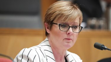 Senator Linda Reynolds during an estimates hearing at Parliament House in Canberra.