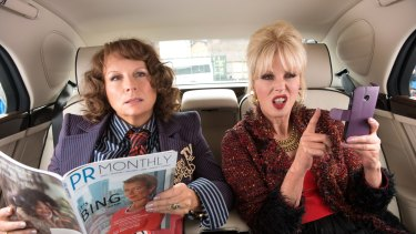 Jennifer Saunders as Edina and Joanna Lumley as Patsy in Absolutely Fabulous.