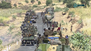 The Ethiopian military gathered on a road in an area near the border of the Tigray and Amhara regions of Ethiopia earlier this month.