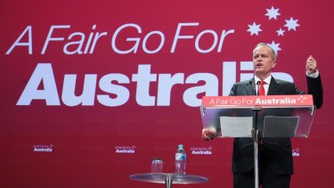 Opposition Leader Bill Shorten at the ALP national conference on Monday.