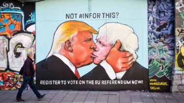 Brexit street art: Trump is wooing the Boris Johnson-led UK with a trade deal, and not everyone is impressed.