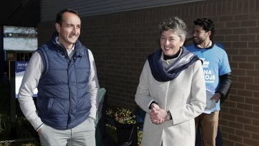Liberal MP Dave Sharma and Liberal candidate Fiona Kotvojs at the Jerrabomberra Public School on Saturday.