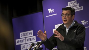Premier Daniel Andrews addresses the media on Saturday.