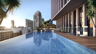 Artist impression of the rooftop pool at the new Crowne Plaza Sydney Darling Harbour