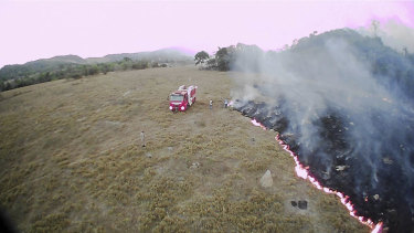 A drone photo shows bush fires burning in Mato Grosso state, Brazil.