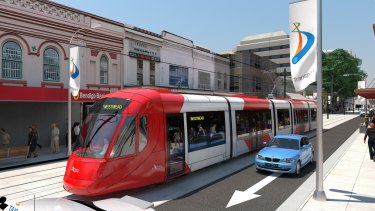 An artist's impression of the Parramatta light rail project. The first stage is due to open in 2023.
