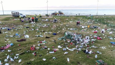 The mess left on St Kilda foreshore on Christmas Day 2017.