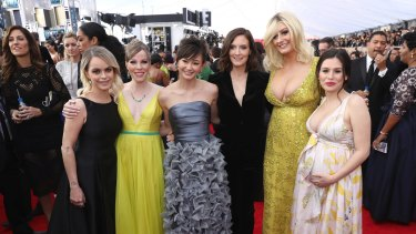 From left, Taryn Manning, Emma Myles, Kimiko Glenn, Julie Lake, Francesca Curran, and Yael Stone at the Screen Actors Guild Awards in 2018.
