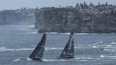 The Sydney to Hobart contenders sail past South Head in 2015.