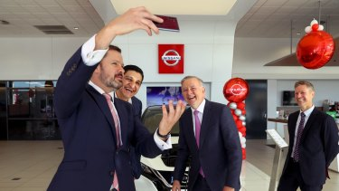 Opposition Leader Anthony Albanese and Shadow Minister for Industry and Innovation Ed Husic in Sydney's Liverpool.
