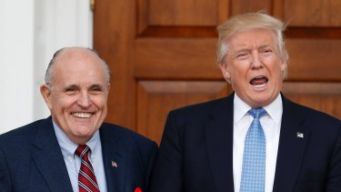 Then-President-elect Donald Trump and ex-New York City mayor Rudy Giuliani in 2016.