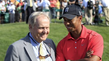 Jack Nicklaus, seen here with Tiger in 2012, acknowledges his long-standing record is back under threat.