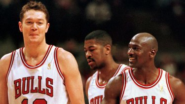 Luc Longley and Michael Jordan during the 1997 NBA playoffs.