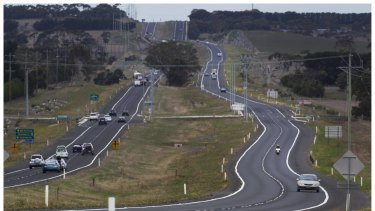 The Princes Highway between Geelong and Colac.