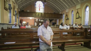 Fourth-generation farmer Adam Cannon during a service at St James' Catholic Church to pray for rain for communities affected by drought.