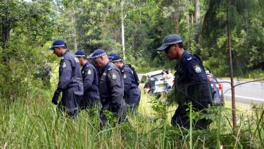 Police searching bushland in Bonny Hills, south of Port Macquarie, in 2015, as part of the investigation.