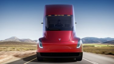 Tesla unveiled the prototype of the futuristic, battery-powered Semi in 2017.