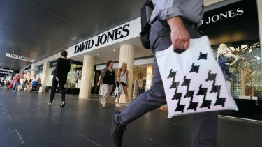 Profit at David Jones has plunged 42 per cent.