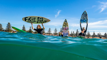 Many of the Torquay protesters took to the waters.