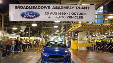 The last Australian-made Ford Falcon rolls off the production line.