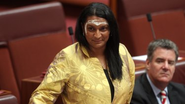 Olympian Nova Peris in the Senate after she was elected to the upper house in 2013.