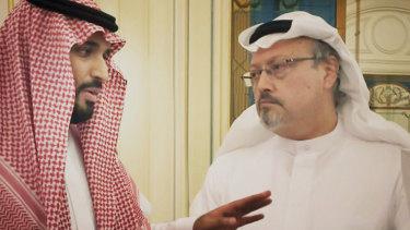 "Saudi Crown Prince Mohammed bin Salman, left, with journalist Jamal Khashoggi in a scene from the documentary ""The Dissident""."