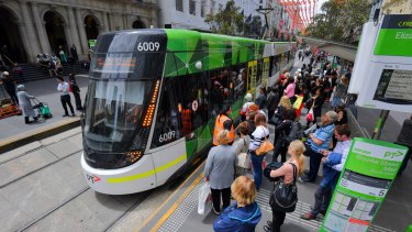 People using trams in the CBD are often crowded in like sardines.