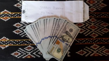 Cash Indonesian police said was paid to people smugglers.