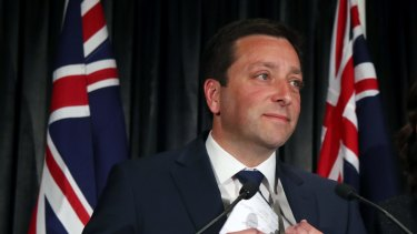 Then Liberal leader Matthew Guy  announces defeat in the state election.