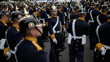 Soldiers wait to march during the Colombian Independence Day military parade in Bogota on Friday, the same day of the new Congress.