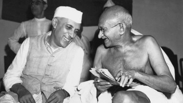 Mohandas Gandhi, the Mahatma, right,  who eventually led India to its independence, laughs with the man who was to be the nation's first prime minister, Jawaharlal Nehru, in 1946.