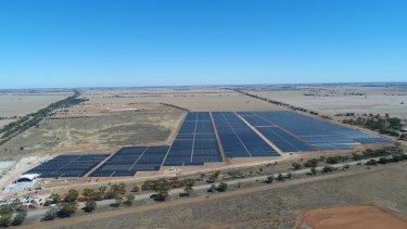 Jobs surge in large-scale renewables: A solar farm near Swan Hill in north-west Victoria.