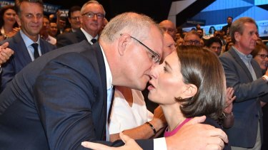 Prime Minister Scott Morrison and  Premier Gladys Berejiklian at Liberal's launch.