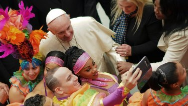 Pope Francis with members of Circus of Cuba, during his weekly general audience at the Vatican.