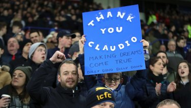 Leicester fans with a banner of support during the match after Ranieri was sacked, against Liverpool.