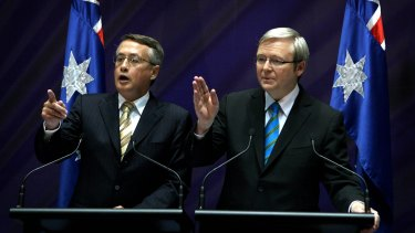 Kevin Rudd (right) and his treasurer Wayne Swan at the height of the Global Financial Crisis in 2008.