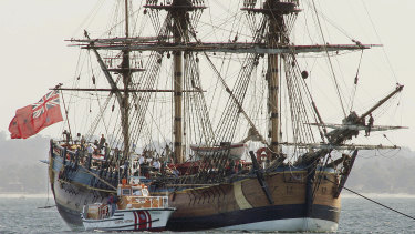 A replica of the Endeavour, which sailed into what became Botany Bay 250 years ago today.